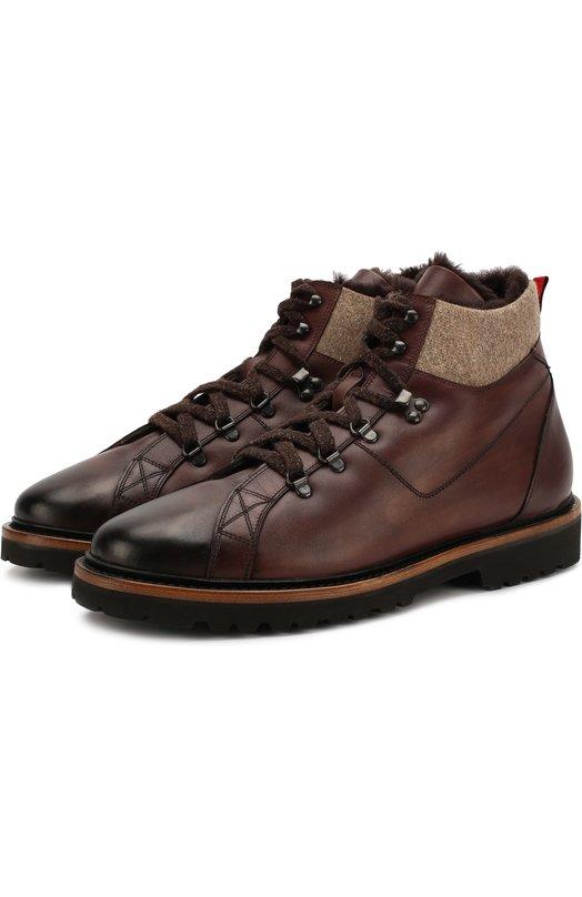 Купить Кожаные ботинки на шнуровке Kiton, USSSTMZN00252, Италия, Коричневый, Кожа натуральная: 100%; Стелька-кожа: 100%; Подошва-резина: 100%; Отделка-шерсть: 100%;