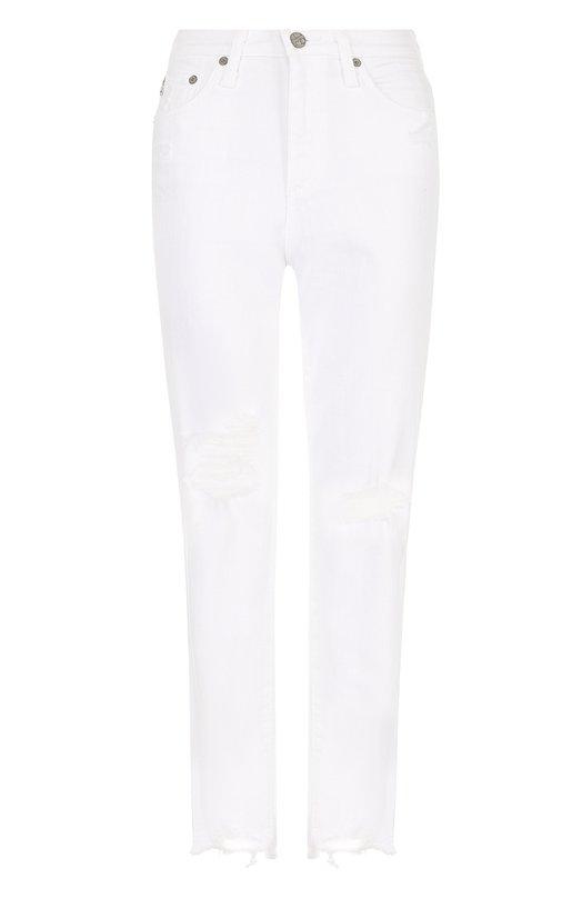 Укороченные джинсы прямого кроя с потертостями Ag Ag