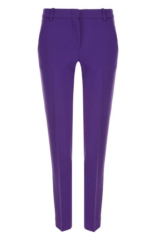 Купить Однотонные укороченные брюки со стрелками Emilio Pucci, 81RT85/81603, Румыния, Фиолетовый, Шерсть овечья: 98%; Эластан: 2%;