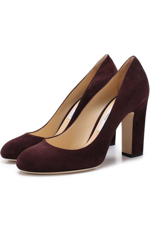 Купить Замшевые туфли Bille 100 на устойчивом каблуке Jimmy Choo, BILLIE 100/SUE, Италия, Бордовый, Стелька-кожа: 100%; Подошва-кожа: 100%; Замша натуральная: 100%;