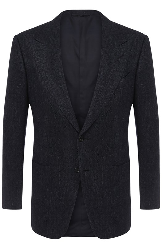 Купить Однобортный пиджак из смеси шерсти и кашемира Tom Ford, 244R06/11HA40, Италия, Темно-синий, Шерсть: 75%; Подкладка-купра: 50%; Подкладка-шелк: 50%; Кашемир: 3%; Шерсть альпака: 22%;