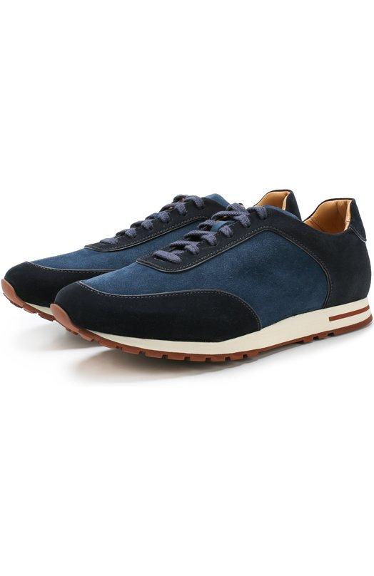 Купить Замшевые кроссовки Week End Walk на шнуровке Loro Piana, FAG4290, Италия, Темно-синий, Стелька-Кожа: 100%; Подошва-Резина: 100%; Замша натуральная: 100%; Подкладка-Кожа: 100%; Кожа: 100%;