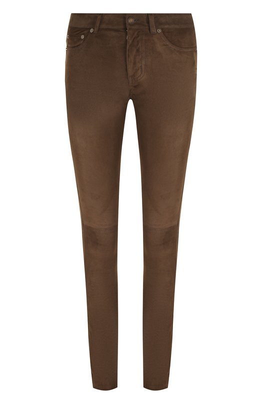 Купить Однотонные замшевые брюки-скинни Saint Laurent, 496409/YC2IG, Италия, Коричневый, Замша натуральная: 100%;