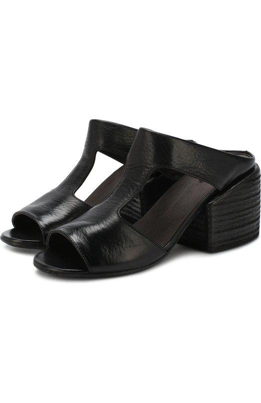 Кожаные мюли на массивном каблуке Marsell, MW4882/VACCH.V0L0NATA, Италия, Черный, Кожа натуральная: 100%; Стелька-кожа: 100%; Подошва-кожа: 100%;  - купить