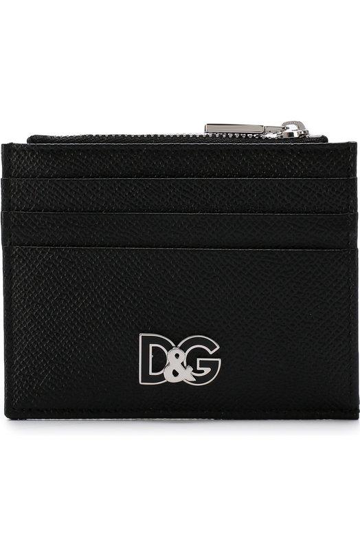 Купить Кожаный футляр для кредитных карт с отделением для монет Dolce & Gabbana, BP2266/AI945, Италия, Черный, Кожа натуральная: 100%;