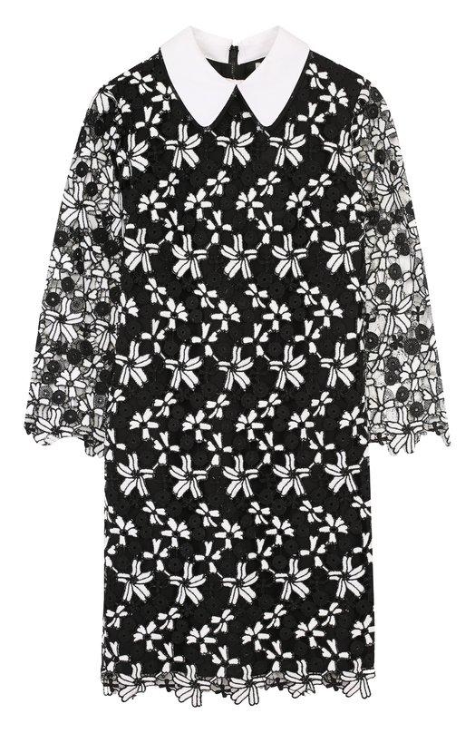 Купить Мини-платье с укороченным рукавом и контрастным воротником Alice + Olivia, CC711D05511, Китай, Черный, Подкладка-полиэстер: 94%; Подкладка-эластан: 6%; Хлопок: 100%; Полиэстер: 100%;