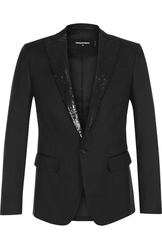 Купить Вечерний пиджак из смеси шерсти и шелка Dsquared2, S74BN0791/S39408, Италия, Черный, Шерсть: 65%; Шелк: 35%; Подкладка-полиэстер: 100%;