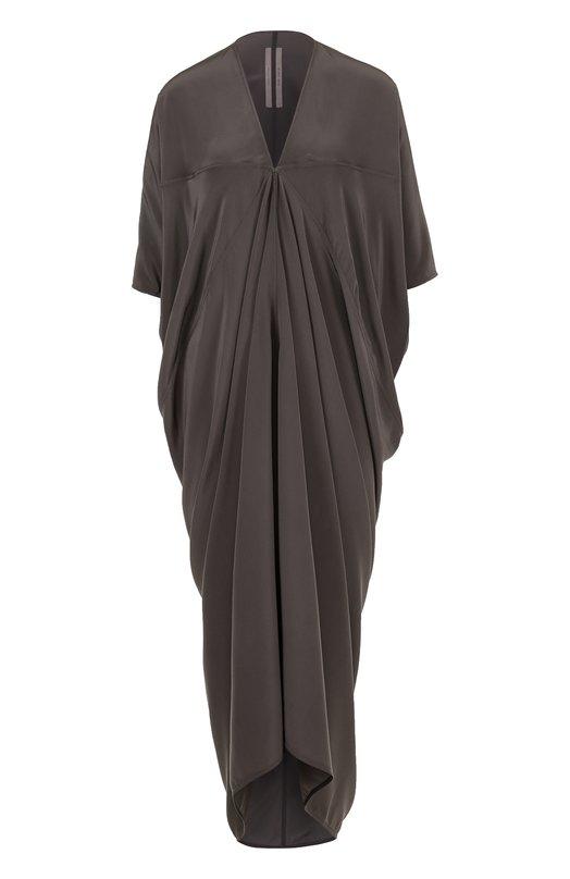 Купить Шелковое платье-миди с драпировкой Rick Owens, RP18S8526/SCR, Италия, Серый, Шелк: 100%;