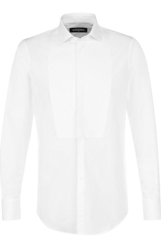 Купить Хлопковая сорочка под смокинг Dsquared2, S74DM0125/S35244, Италия, Белый, Хлопок: 100%;