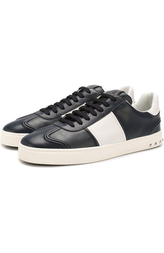 Купить Кожаные кеды Valentino Garavani Flycrew на шнуровке Valentino, PY2S0A08/HCM, Италия, Темно-синий, Кожа натуральная: 100%; Стелька-кожа: 100%; Подошва-резина: 100%;