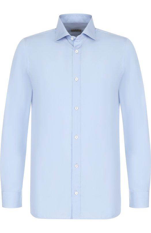 Купить Хлопковая сорочка с воротником акула Z Zegna, 305002/9DFEDI, Египет, Голубой, Хлопок: 100%;