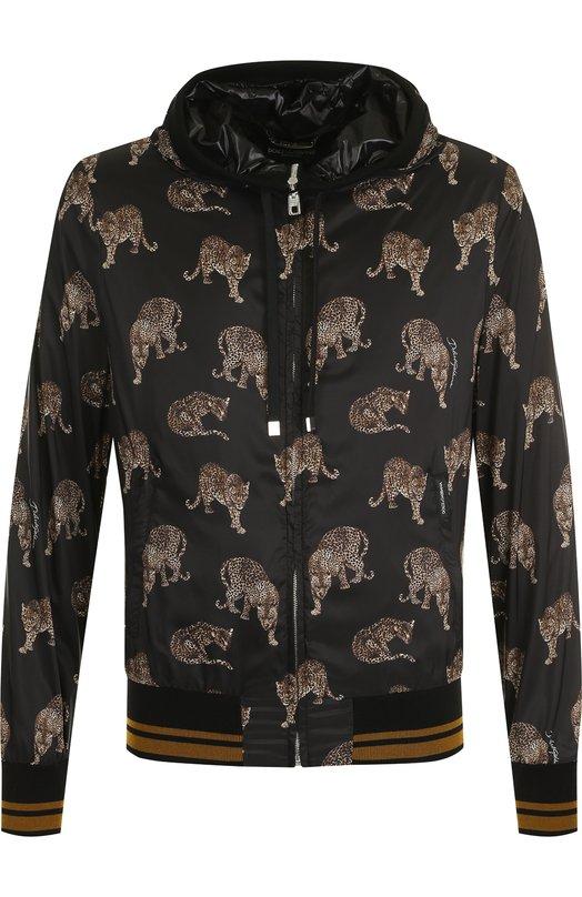 Купить Бомбер на молнии с капюшоном Dolce & Gabbana, G9KA1T/FSM90, Италия, Черный, Отделка-хлопок: 96%; Отделка-эластан: 4%; Полиамид: 100%; Подкладка-полиамид: 100%;