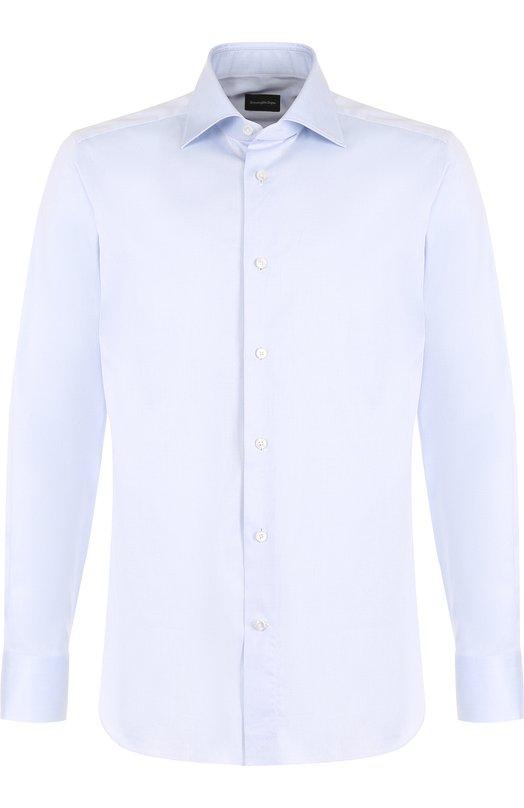 Купить Хлопковая сорочка с воротником кент Ermenegildo Zegna, 304002/9MS0BR, Румыния, Голубой, Хлопок: 100%;