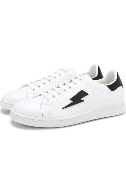 Купить Кожаные кеды на шнуровке Neil Barrett, PBCT204 G9043, Италия, Белый, Кожа натуральная: 100%; Стелька-кожа: 100%; Подошва-резина: 100%;