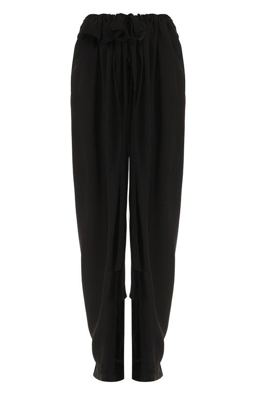 Купить Однотонные шелковые брюки с оборками Stella McCartney, 496972/SY206, Венгрия, Черный, Шелк: 100%;