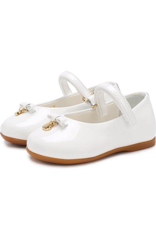 Лаковые туфли с ремешком и бантами Dolce & Gabbana