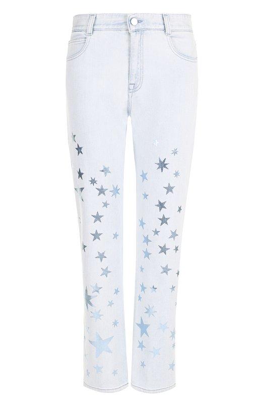 Купить Укороченные джинсы с потертостями и принтом в виде звезд Stella McCartney, 475499/SKH05, Италия, Голубой, Хлопок: 98%; Эластан: 2%;