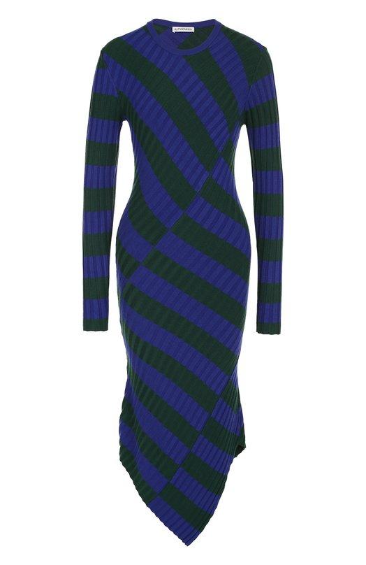 Вязаное платье-миди асимметричного кроя в полоску Altuzarra Altuzarra
