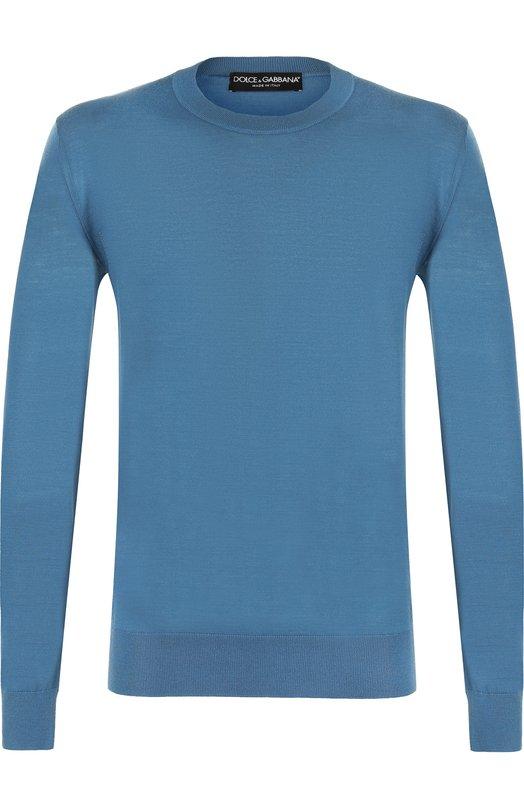 Купить Кашемировый джемпер тонкой вязки Dolce & Gabbana, GX072T/JAWAB, Италия, Темно-синий, Кашемир: 100%;