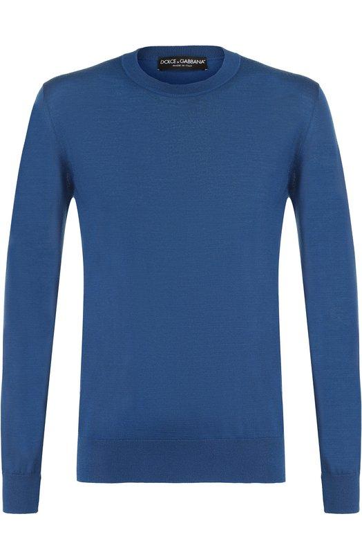 Купить Кашемировый джемпер тонкой вязки Dolce & Gabbana, GX072T/JAWAB, Италия, Синий, Кашемир: 100%;