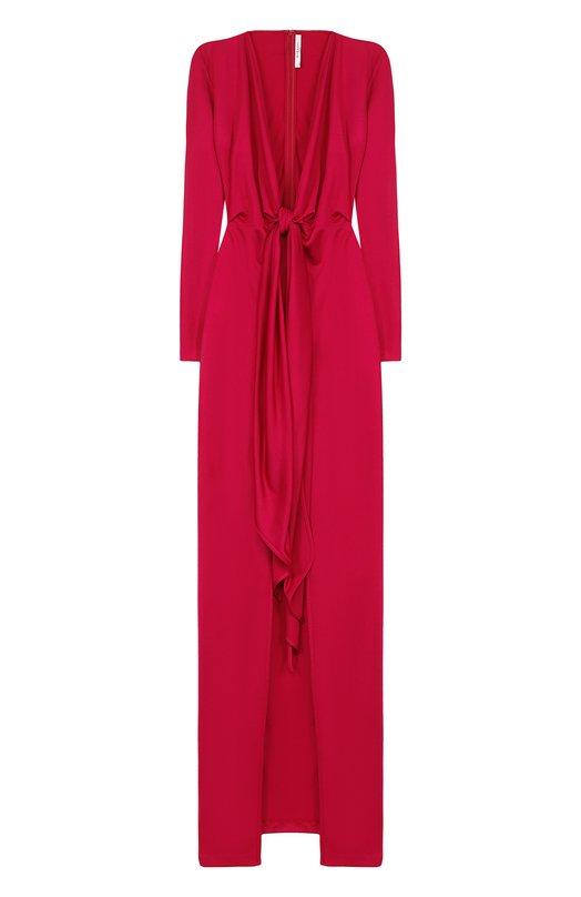 Купить Платье-макси с глубоким V-образным вырезом и бантом Givenchy, BW202Z3047, Италия, Фуксия, Вискоза: 81%; Полиамид: 19%;
