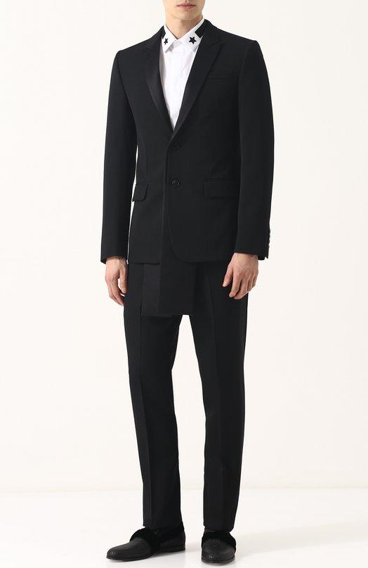 Шерстяной смокинг с удлиненными вставками на полах пиджака Givenchy