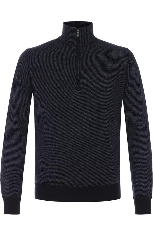 Купить Кашемировый свитер с воротником на молнии Loro Piana, FAC9005, Италия, Темно-синий, Кашемир: 100%;