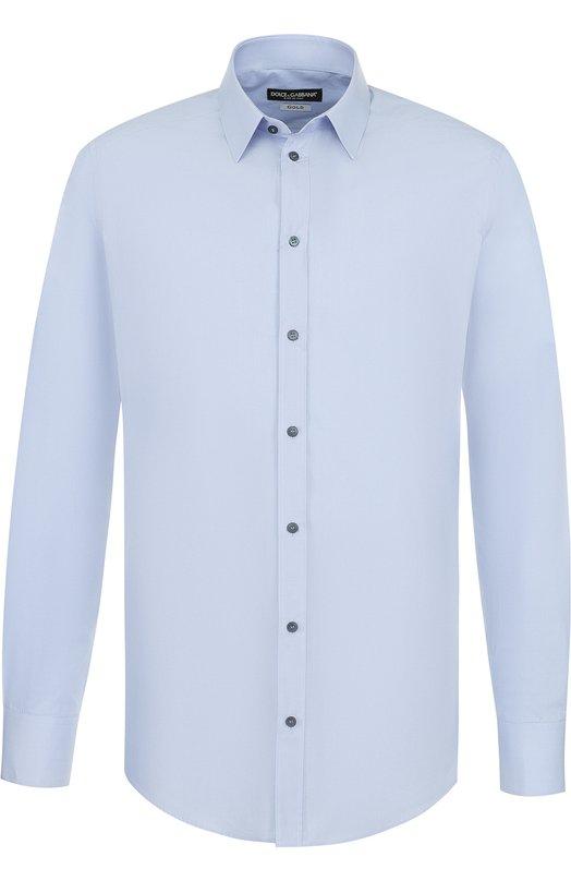 Купить Хлопковая сорочка с воротником кент Dolce & Gabbana, G5EJ0T/FU5GK, Италия, Голубой, Хлопок: 100%;