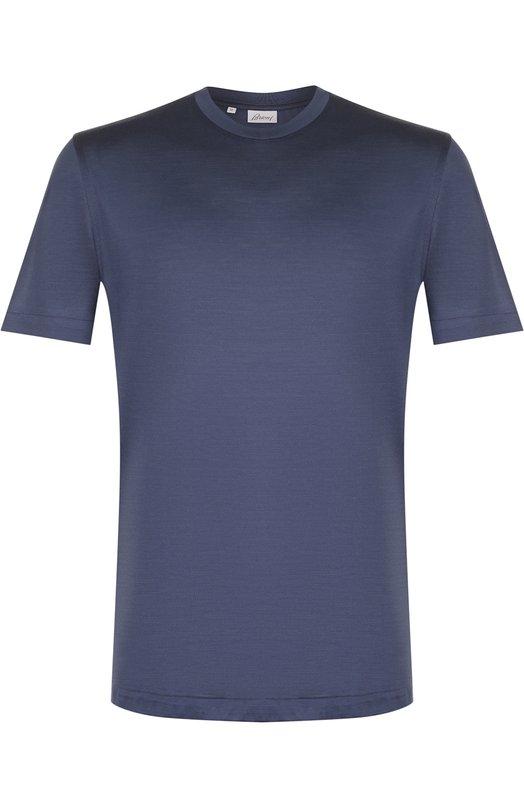 Купить Шелковая футболка с круглым вырезом Brioni, UJ7F0L/P7602, Италия, Синий, Шелк: 100%;