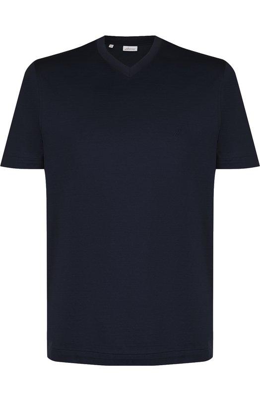 Купить Хлопковая футболка с V-образным вырезом Brioni, UJ7A0L/PZ600, Италия, Темно-синий, Хлопок: 100%;