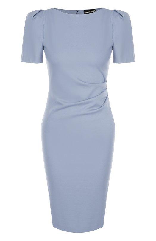 Купить Приталенное платье-миди с рукавом-фонарик и драпировкой Giorgio Armani, 3ZAA76/AJDRZ, Италия, Голубой, Вискоза: 69%; Эластан: 6%; Полиамид: 25%;