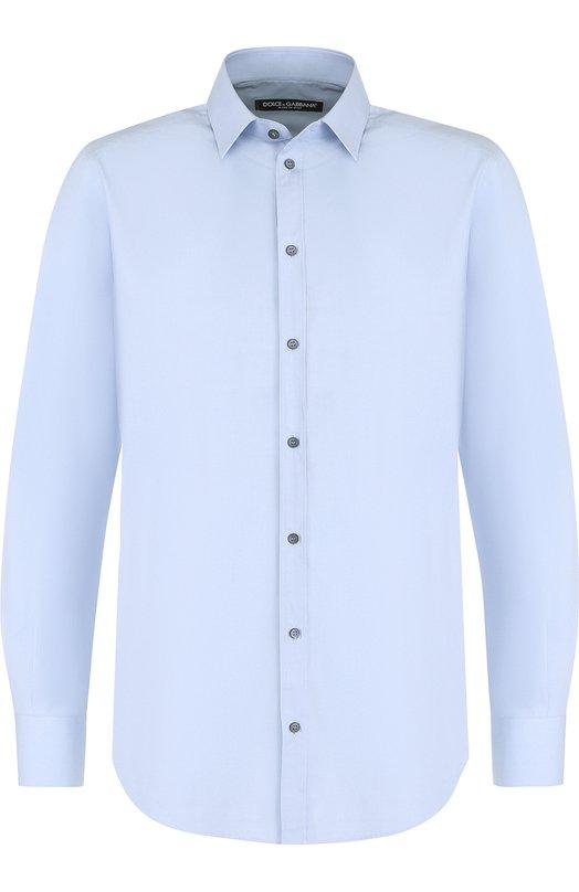 Купить Хлопковая сорочка с воротником кент Dolce & Gabbana, G5EJ1T/FU5GK, Италия, Голубой, Хлопок: 100%;