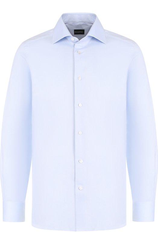 Купить Хлопковая сорочка с итальянским воротником Ermenegildo Zegna, 303902/9MS0BR, Румыния, Голубой, Хлопок: 100%;