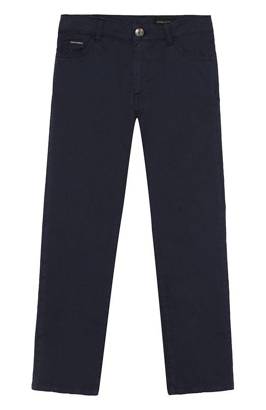 Купить Джинсы прямого кроя с логотипом бренда Dolce & Gabbana, L41F35/LY033/8-14, Италия, Темно-синий, Хлопок: 100%;