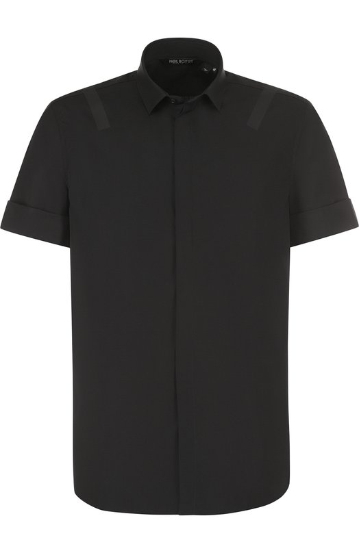 Купить Хлопковая рубашка с короткими рукавами Neil Barrett, PBCM862S/G014S, Италия, Черный, Хлопок: 100%;