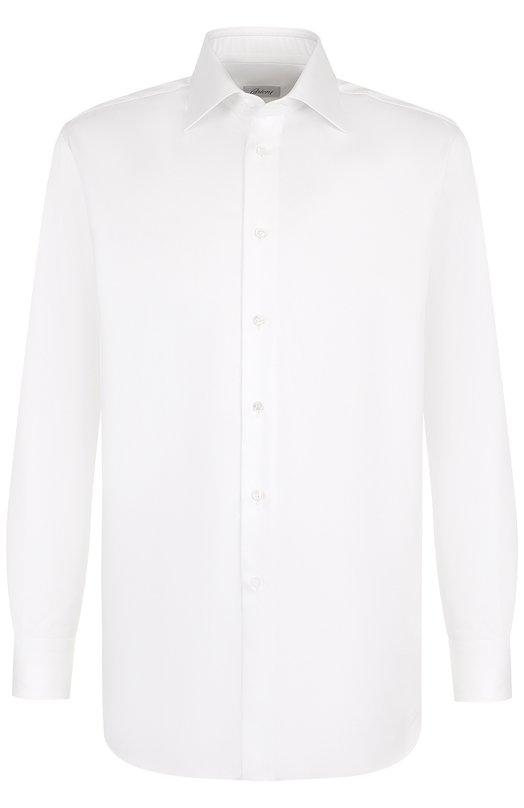 Купить Хлопковая сорочка с воротником кент Brioni, RCL96B/P703W, Италия, Белый, Хлопок: 100%;