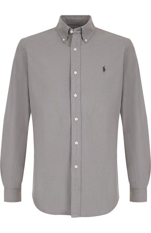 Купить Хлопковая рубашка с воротником button down и логотипом бренда Polo Ralph Lauren, 710684868, Филиппины, Серый, Хлопок: 100%;