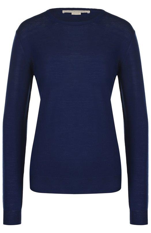 Купить Шерстяной пуловер прямого кроя с круглым вырезом Stella McCartney, 322182/S1735, Италия, Синий, Шерсть: 100%;