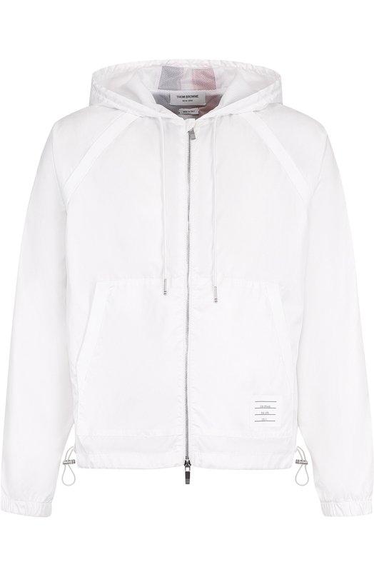 Купить Куртка с контрастной отделкой на молнии и капюшоном Thom Browne, MJT080A-03215 100, Италия, Белый, Полиэстер: 100%; Подкладка-полиуретан: 100%;