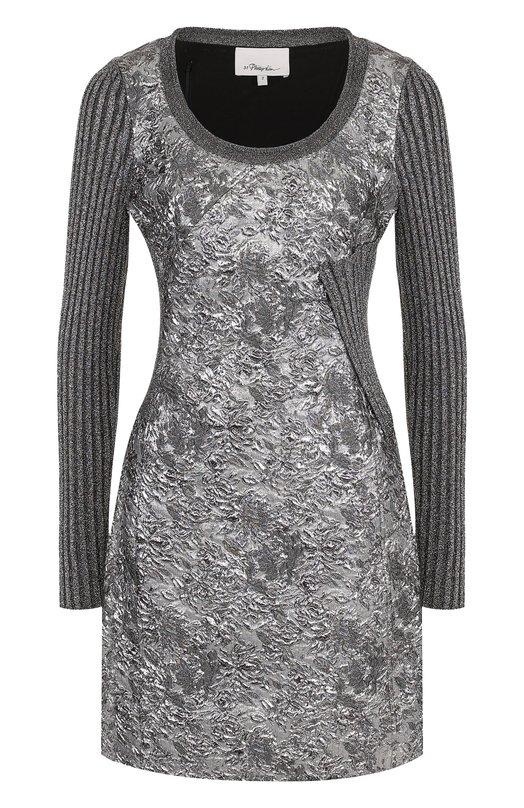 Купить Мини-платье с длинным рукавом и металлизированной нитью 3.1 Phillip Lim, H171-9222FMC, Китай, Серебряный, Подкладка-шелк: 95%; Эластан: 5%; Ацетат: 48%; Люрекс: 21%; Шелк: 17%; Полиамид: 14%;