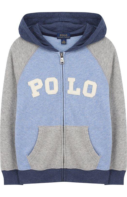 Купить Хлопковый кардиган на молнии с капюшоном Polo Ralph Lauren, 322682618, Вьетнам, Серый, Хлопок: 100%;
