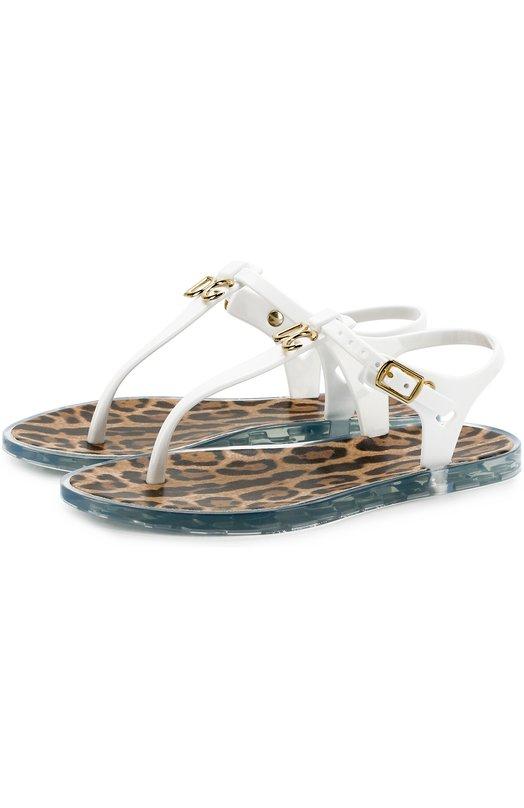 Купить Сандалии с логотипом бренда Dolce & Gabbana, D00305/AN510/29-36, Испания, Белый, Стелька-кожа: 100%; Подошва-резина: 100%; Поливинилхлорид: 100%;