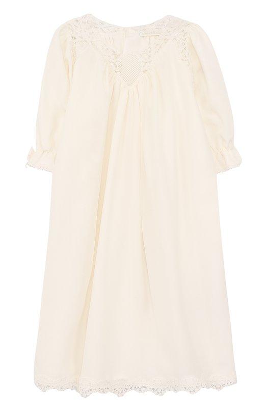 Купить Шелковое платье свободного кроя с кружевной отделкой Dolce & Gabbana, L0EG05/FU1H7, Италия, Белый, Шелк: 98%; Хлопок: 2%; Подкладка-полиэстер: 100%;