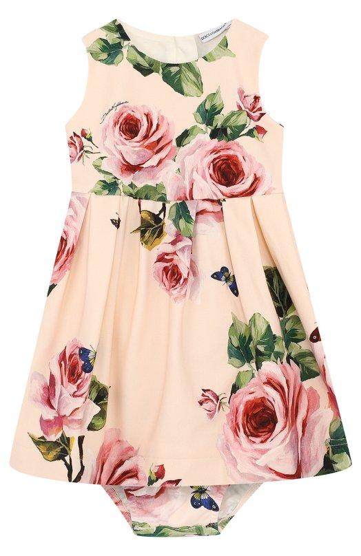 Купить Хлопковый комплект из платья и трусов с принтом Dolce & Gabbana, L2JDX2/G7MLL, Италия, Розовый, Хлопок: 90%; Подкладка-хлопок: 100%; Эластан: 10%;