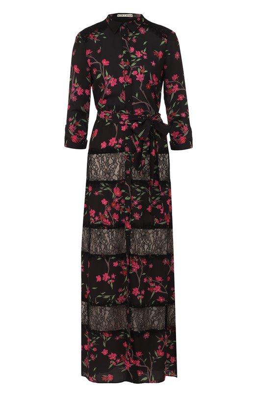 Купить Приталенное платье-макси с принтом и кружевными вставками Alice + Olivia, CC710P23503, Китай, Черный, Подкладка-полиэстер: 94%; Подкладка-эластан: 6%; Полиэстер: 100%;