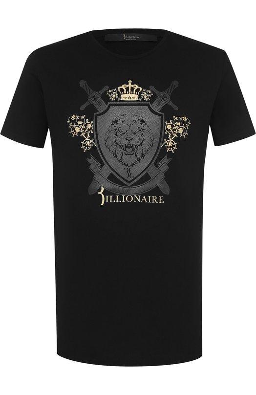 Купить Хлопковая футболка с аппликацией Billionaire, B18C MTK_1733 BTE014N, Италия, Черный, Хлопок: 100%;