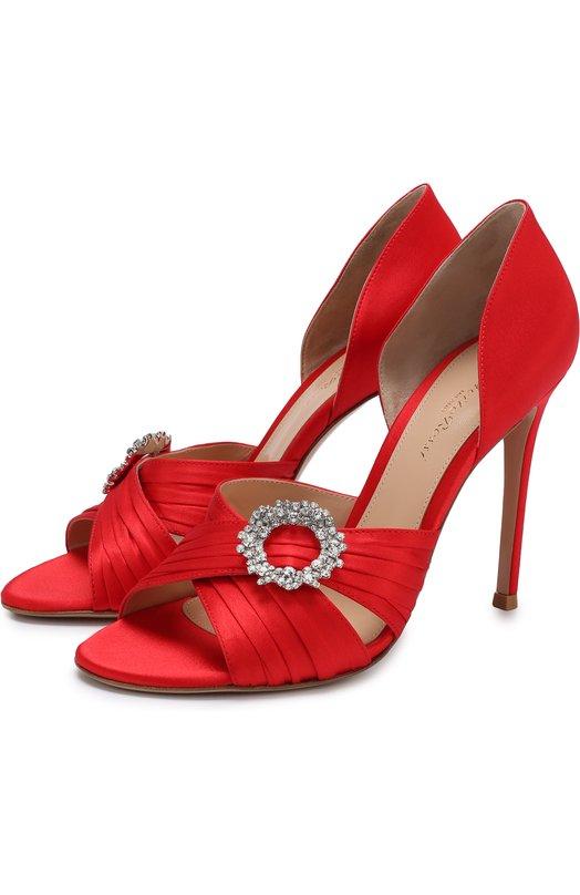 Купить Атласные туфли Cinema с брошью на шпильке Gianvito Rossi, G60177.15RIC.RASTABS, Италия, Красный, Стелька-кожа: 100%; Подошва-кожа: 100%; Текстиль: 100%;