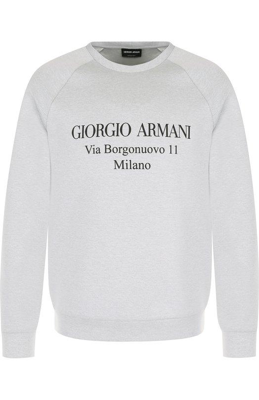 Купить Хлопковый свитшот с аппликацией Giorgio Armani, 3ZSM81/SJSXZ, Италия, Светло-серый, Хлопок: 80%; Полиамид: 20%;