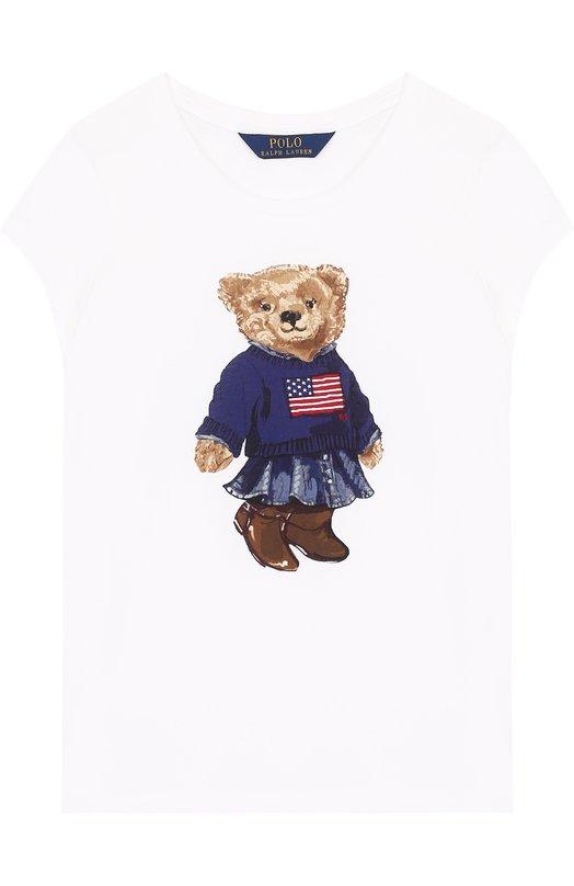 Купить Хлопковая футболка с принтом Polo Ralph Lauren, 313687555, Китай, Белый, Хлопок: 100%;