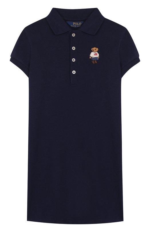 Купить Хлопковое мини-платье прямого кроя с вышивкой Polo Ralph Lauren, 313687558, Китай, Синий, Хлопок: 98%; Эластан: 2%;